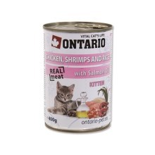 Ontario konzerva Kitten Chicken,Schrimps,Rice,Salmon Oil 400 g