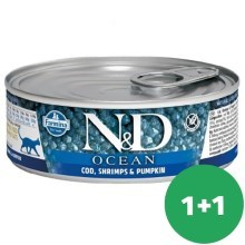 N&D Cat Ocean Adult Tuna & Codfish & Shrimps & Pumpkin 80 g SET 1+1 ZDARMA