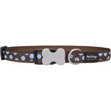 Obojek Red Dingo M 30 - 47 cm Blue Spots on Brown