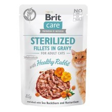 Brit Care Cat kapsička Fillets Gravy Steril Healthy Rabbit 85 g