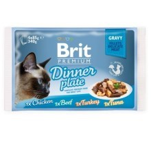 Brit Premium Cat Fillets in Gravy Dinner Plate 4 ks