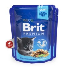 Brit Premium Cat kapsa Chicken Chunks for Kitten 24x100g VÝHODNÝ SET