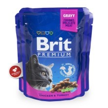 Brit Premium Cat kapsa with Chicken & Turkey 24x100g VÝHODNÝ SET