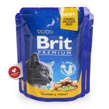Brit Premium Cat kapsa with Salmon & Trout 24x100g VÝHODNÝ SET
