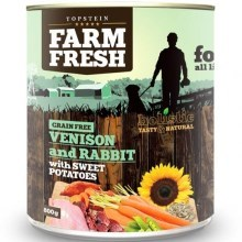 Farm Fresh konzerva Venison & Rabbit with Sweet Potatoes 800 g