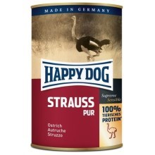 Happy Dog Premium konzerva 100% Strauss Pur 400 g