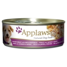 Konzerva Applaws Dog Chicken, Ham & Veg 156 g