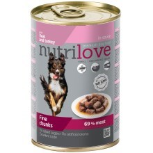 Nutrilove Dog konzerva Chunks Gravy Veal & Turkey 415 g