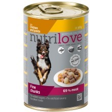 Nutrilove Dog konzerva Chunks Jelly Chicken Noodles 415 g