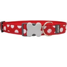 Obojek Red Dingo S 24 - 37 cm White Spots on Red