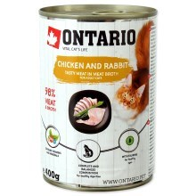 Ontario Cat konzerva Chicken, Rabbit, Salmon Oil 400 g