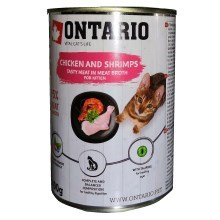 Ontario Cat konzerva Kitten Chicken, Schrimps, Salmon Oil 400 g