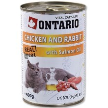 Ontario konzerva Chicken, Rabbit, Salmon Oil 400 g