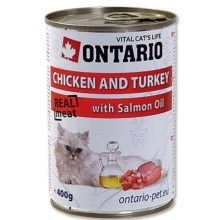 Ontario konzerva Chicken, Turkey, Salmon Oil 400 g