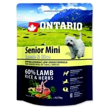 Ontario Senior mini Lamb & Rice 0,75 kg