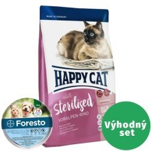 Výhodný set Happy Cat Sterilised Voralpen-Rind 10 kg + Foresto 38