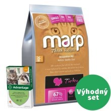 Výhodný set Marp Holistic Turkey Cat 2 kg + Advantage spot-on 1x0,4 ml do 4 kg